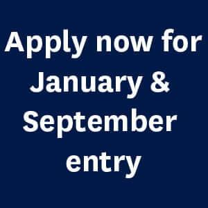 Apply now for January & September entry