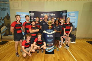 Rugby team and Webb Ellis Trophy with Lawrence Dallaglio