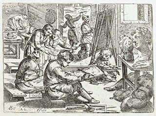 Odoardo Fialetti, Artist's Studio, c. 1608, frontispiece from Il vero modo et ordine per dissegnar tutte le parti et membra del corpo humano, Venice, 1608.
