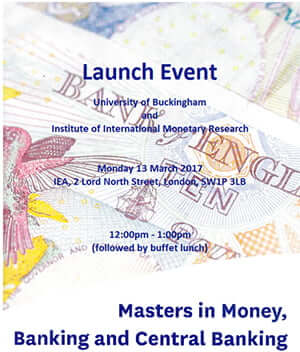 MSc Money, Banking and Central Banking launch event