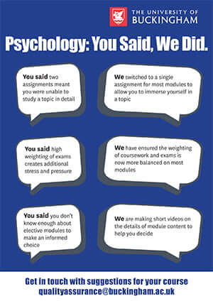 NSS Psychology: You Said, We Did