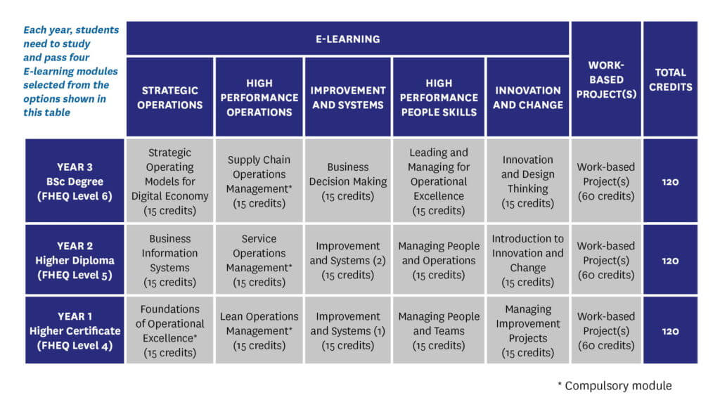 BSc Operational Excellence E-learning table