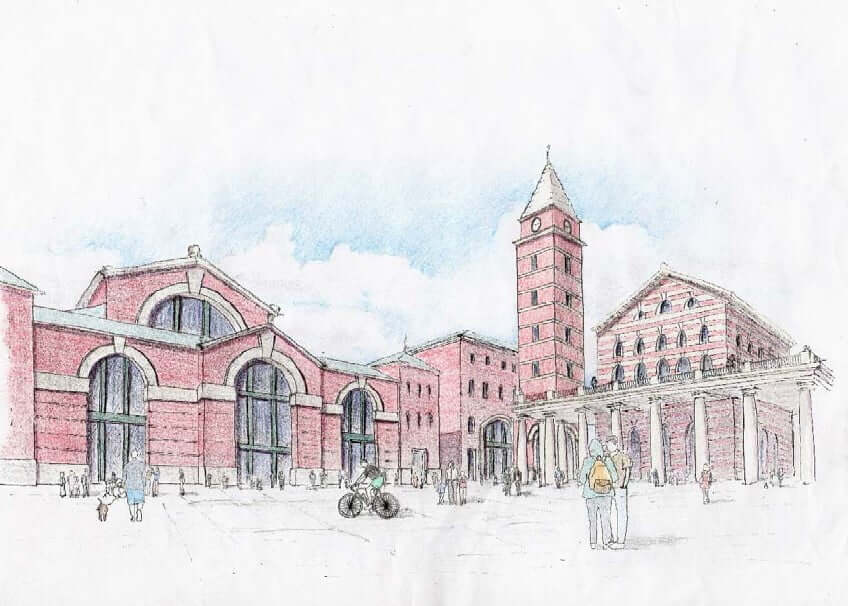 Perspective Drawing of Euston Station Area Master Plan (by Ellen Chen)