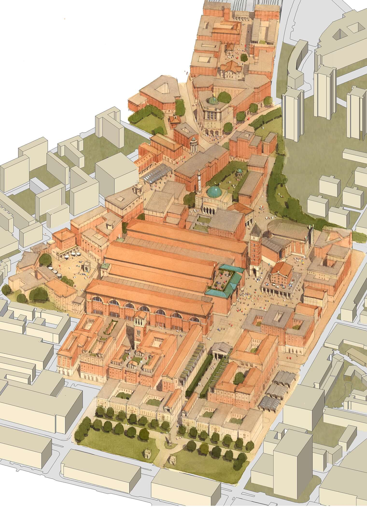 Aerial perspective for the new Euston Station Area masterplan