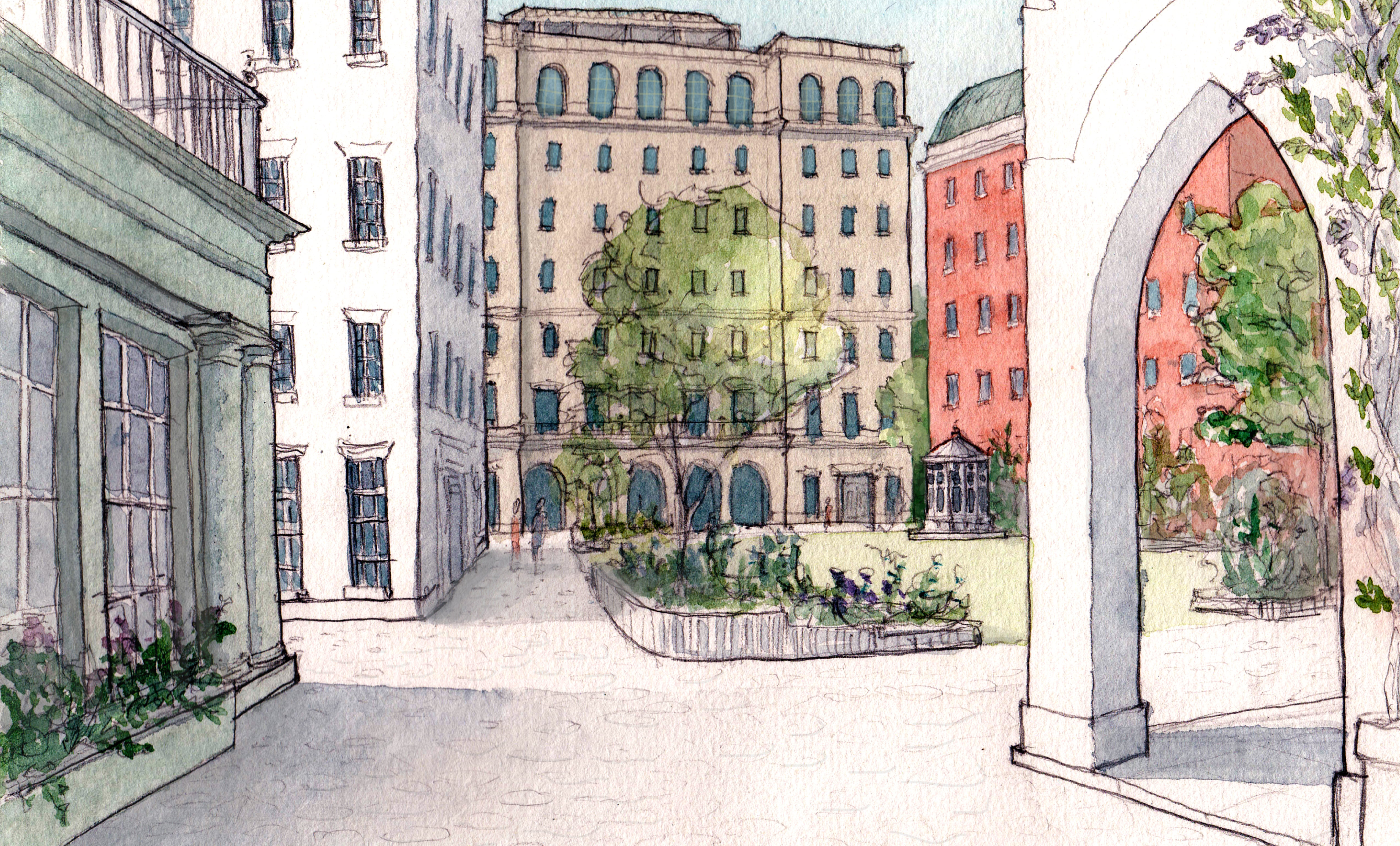 View of the proposed green square off Hampstead Road