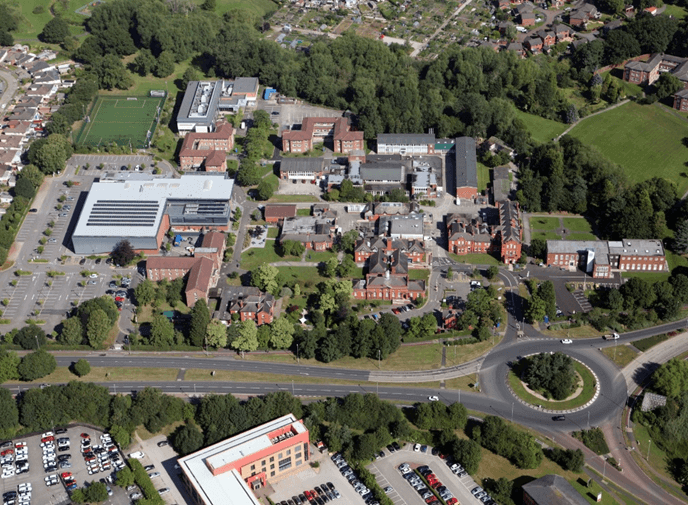 Crewe campus aerial view