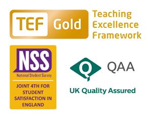 TEF Gold - QAA Quality Mark thumbnail - NSS Joint 4th for Student Satisfaction in England